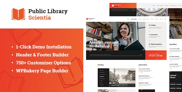 Scientia – Public Library & Book Store Education WordPress Theme