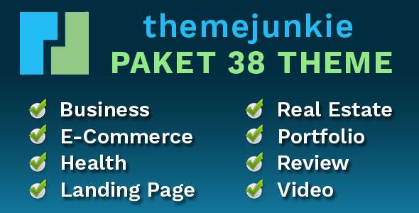 Theme Junkie Paket 38 Theme Kategori Business, E-Commerce, Health, Landing Page, Real Estate, Portfolio, Review, Video