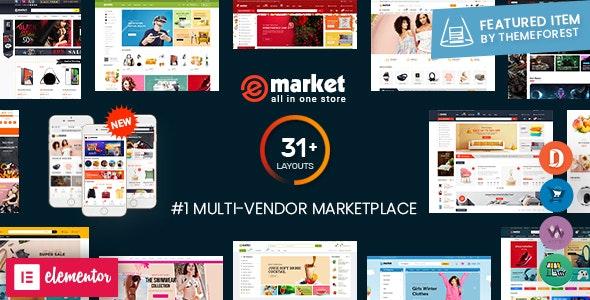 eMarket – Multi Vendor MarketPlace Elementor WordPress Theme (31+ Homepages & 3 Mobile Layouts)